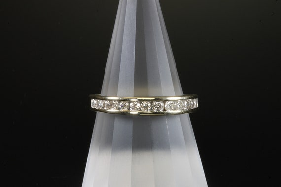 Vintage 10K yellow gold .47 tcw diamond band, wedding ring, stackable sparkles, unisex jewelry, classic style