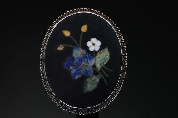 Pietra Dura Floral 800 Silver Vintage Brooch
