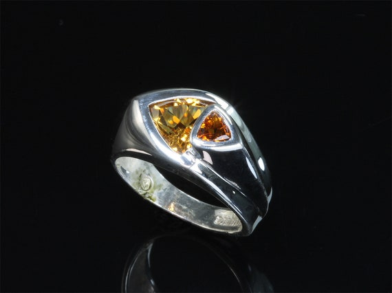Handmade sterling silver Citrine and Madiera Citrine trillion gemstone ring, fancy. cut, colorful stylish statement ring