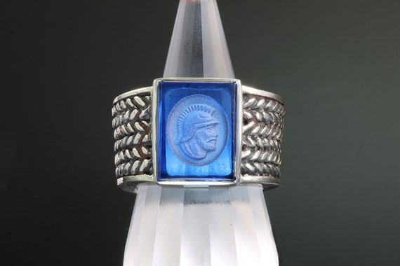 Sterling silver intaglio mens ring, handmade jewelry by Cavallo Fine Jewelry created sapphire Fathers day gift masculine, think Dad!