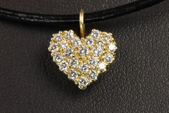 Vintage 18K Yellow Gold Diamond Heart Pendant with .75 tcw Diamonds