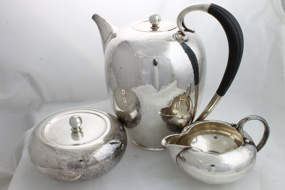 Vintage Georg Jensen Sterling Silver Coffee Pot, Creamer and Sugar Bowl