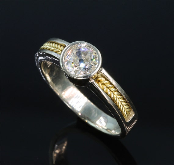 14K White Gold and 18K Yellow Gold Engagement Ring with 80pt Old Miner Cut Diamond by Cavallo Fine Jewelry