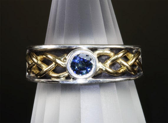 Handmade sterling silver, 18K yellow gold and spectacular half carat round blue sapphire, fine unisex jewelry September birthstone