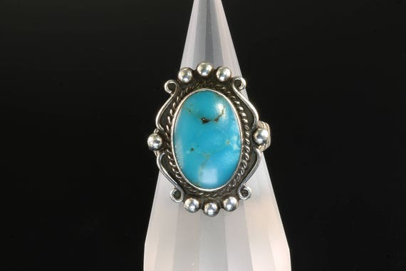 Vintage! Sterling Silver Ring with Blue Turquoise