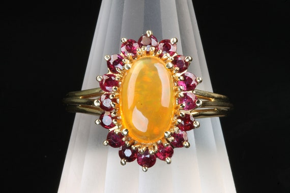 Outstanding Orange Opal 14K Yellow gold ring Ruby Halo, unique jewelry, vintage, October birthstone, statement colorful cocktail ring