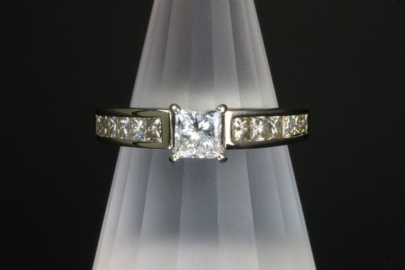 14K White Gold all princess cut diamond Engagement ring, vintage jewelry, wedding ring, 1.16 tcw, estate jewelry