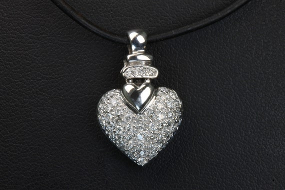 Stunning 14K white gold diamond heart pendant, .20 tcw, vintage jewelry, Mothers day gift, sweetheart gift for her, April birthstone