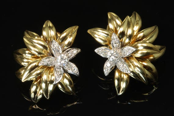 Vintage! 18K Yellow and White Gold Cartier Earrings with .50tcw Diamonds