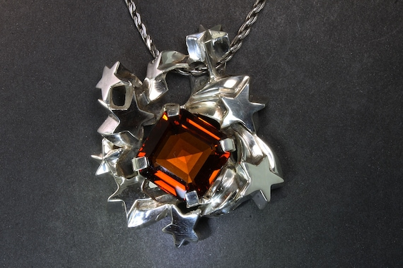 Handmade Sterling Silver Madiera Citrine  Big Bang Pendant, jewelry by Cavallo, seeing stars, whimsical, statement jewelry