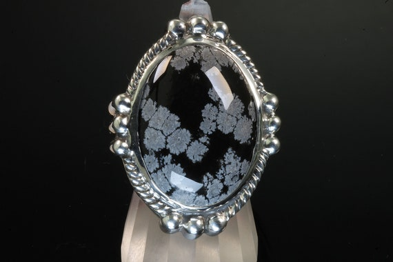 Huge Snowflake Obsidian Sterling Silver ring, handmade jewelry, cabochon, statement ring, big, bold, beautiful, unique, unisex jewelry