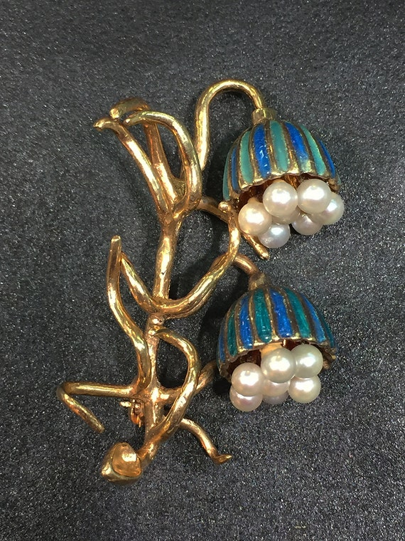 Vintage! 14K Gold, Pearl and Enameled Bluebell Pin