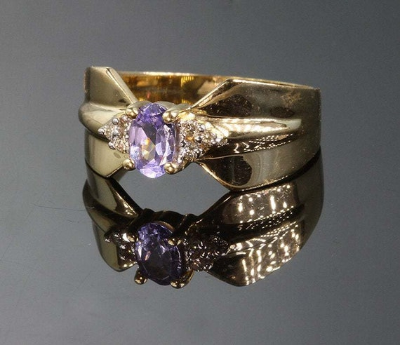 14K Yellow Gold, Vintage Tanzanite and Diamond Ring; Violet Purple Gemstone, great gift idea Womens Fashion Accessory