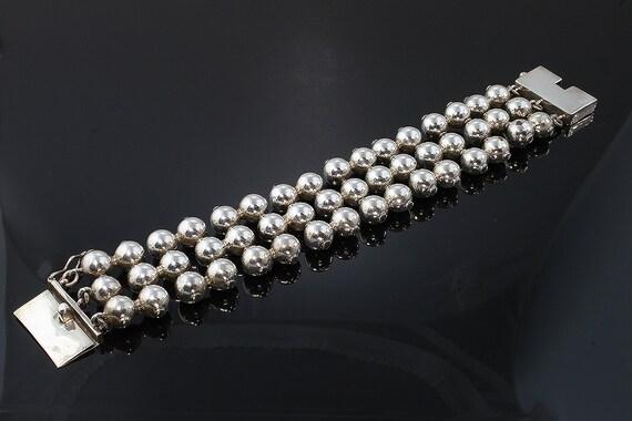 """Vintage Sterling Silver Ball Bracelet 8"""""""