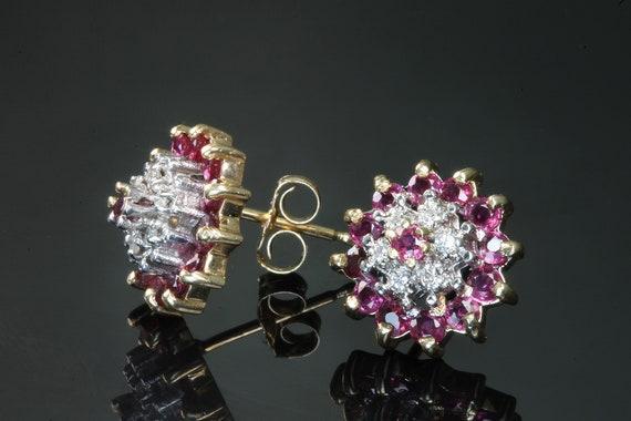 Ravishing ruby diamond halo vintage 14K yellow gold earring studs, genuine ruby, retro, sparkly, womans fashion, ear candy, treat yourself