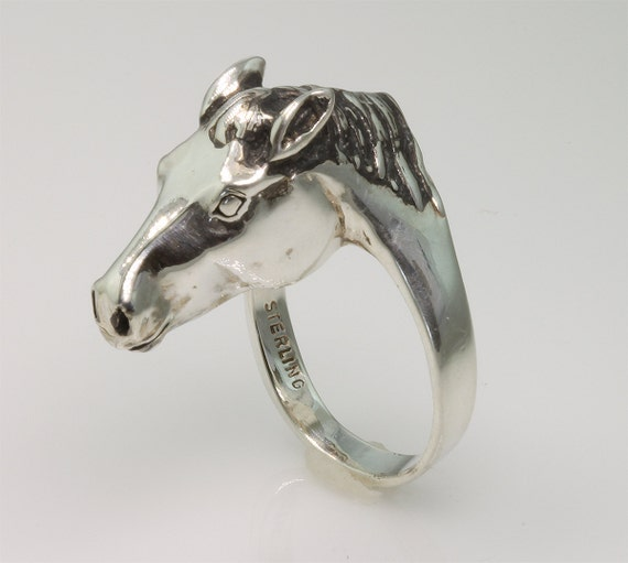 Sterling Silver Horse Head Ring #3 by Cavallo Fine Jewelry
