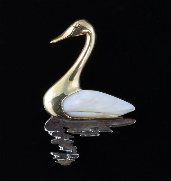14K Yellow Gold and Sterling Silver Swan Pin by Cavallo Fine Jewelry