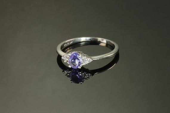 Vintage Platinum Ring with Tanzanite and Diamonds