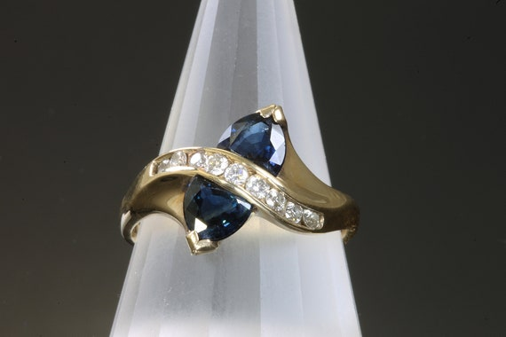 Blue Trillion Sapphire and Diamond Ring by Cavallo Fine Jewelry