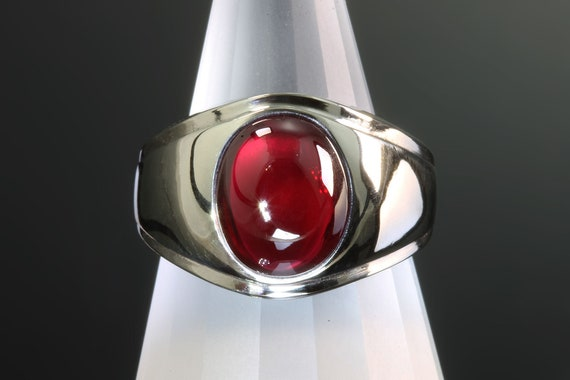 14K White Gold Heavy Mans ring, created ruby cabochon, classic gentleman fashion, mens jewelry, Fathers day, mens ring, mens fashion