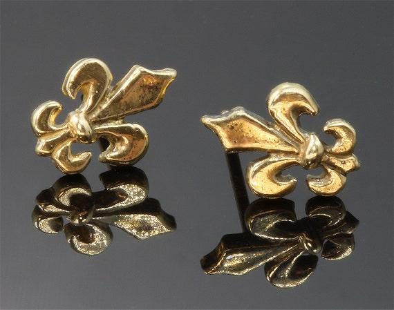 14K Gold Fleur De Lis Stud Earrings by Cavallo Fine Jewelry