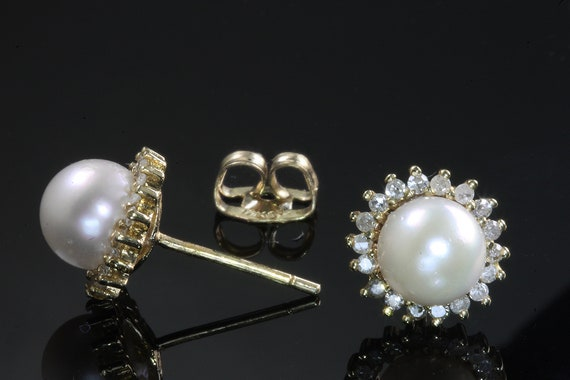 Pearl and Diamond Halo 14K Yellow Gold Stud Earrings