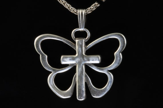 Vintage Robert Lee Morris sterling silver butterfly and cross pendant, symbol of resurrection , soul, great gift idea, think Mothers Day!