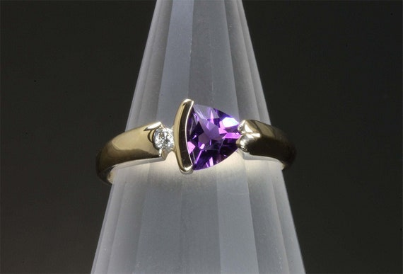 14K Yellow Gold Trillion Amethyst and Diamond Ring handmade jewelry purple gemstone fine jewelry, February's birthstone