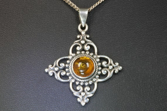Sterling Silver and Amber Vintage Pendant Including Chain Shown