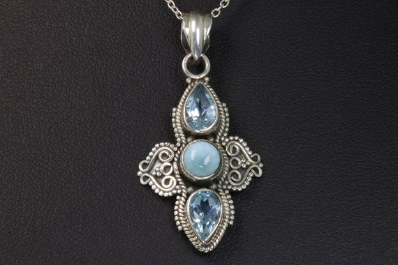 Larimar, Blue Topaz and Sterling Silver Vintage Pendant and Sterling Silver Chain