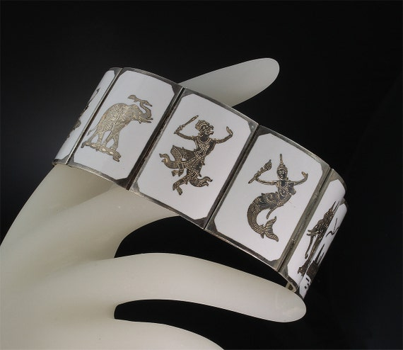 Siam Sterling Silver and White Enamel Vintage Bracelet