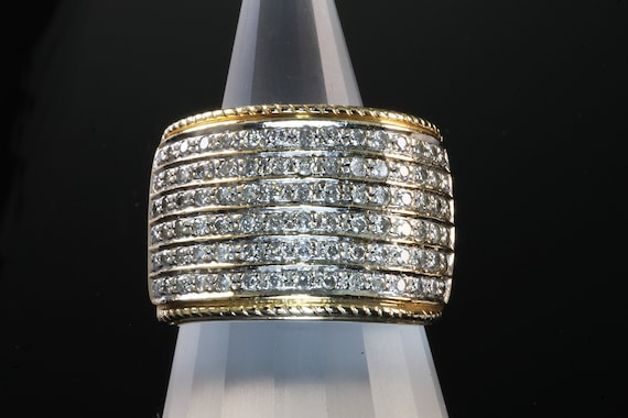 14K Yellow Gold and Diamond Vintage Cocktail Band