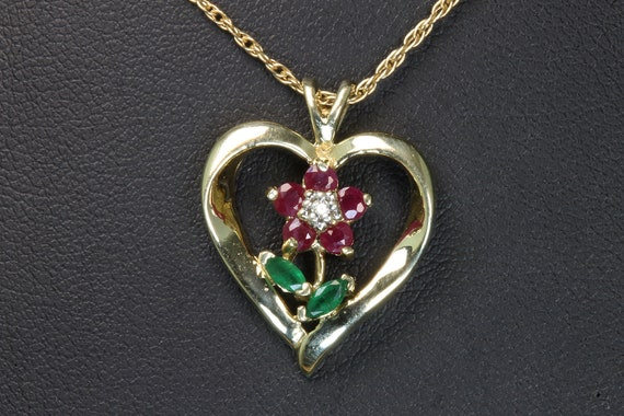 Vintage 10K Yellow gold heart pendant ruby and diamond flower emerald leaves, flower power, gift for her, gardener gift