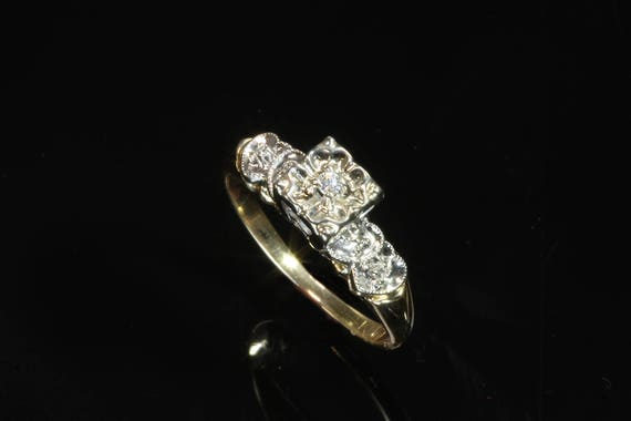 14K Two Tone Gold .04 tcw Diamond Art Deco Ring