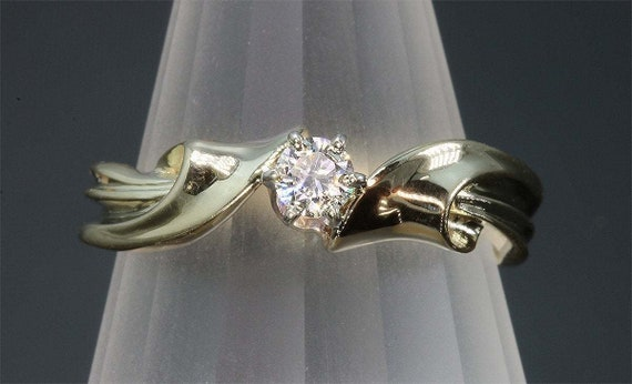 14K Yellow Gold 15 Point Diamond Engagement Ring by Cavallo Fine Jewelry