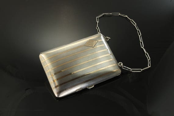 Sterling Silver and 14K Yellow Gold Coin Vintage Purse with Pencil and Mirror