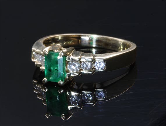 14K Yellow Gold Vintage Ring with Emerald Cut Emerald and Diamonds