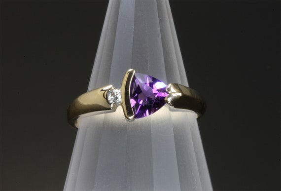 14K Yellow Gold, Trillion Cut Amethyst and Diamond Ring by Cavallo Fine Jewelry