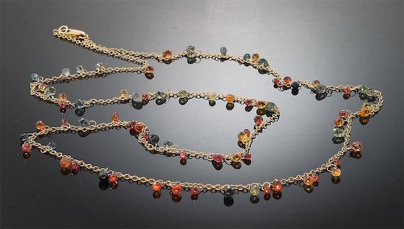 14K Gold, 28tcw Multi Colored Sapphire Briolette Necklace by Cavallo Fine Jewelry