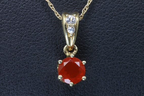 Vintage 10K Yellow Gold Tiny Pendant with Fire Opal and Diamonds