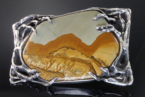 Sterling Silver and Picture Jasper Vintage Artisan Belt Buckle