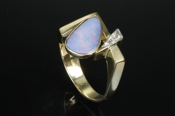 Vintage 14K yellow gold boulder opal doublet diamond mod ring, retro style, October birthstone, play of color, geometric