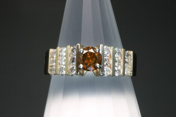 Cognac and White Diamond Vintage 14K Gold Diamond Engagement or Anniversary Ring