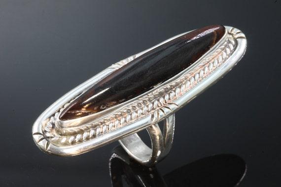 Signed Frank Ortega Jr. Sterling Silver and Mahogany Obsidian Vintage Ring