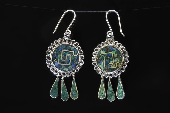 Vintage Taxco Sterling Silver Blue Green Turquoise Dangle earrings, tribal mexico silversmiths, mexican jewelry, womens fashion