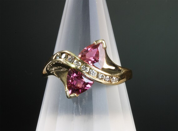 14K Gold Ring with Pink Tourmaline and Diamonds by Cavallo Fine Jewelers