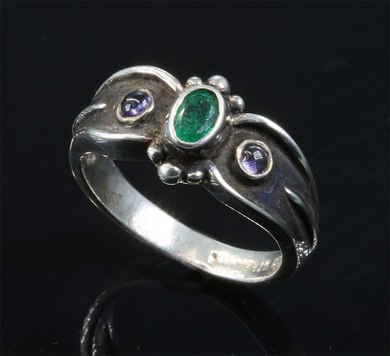 Emerald and Iolite Sterling Silver Ring by Cavallo Fine Jewelry