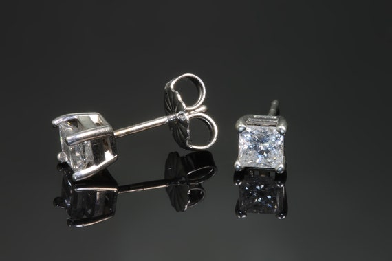 Stunning .60 ctw princess cut diamond studs 14K white gold, SI2, H-J color, great gift for her, Mothers day diamond earrings