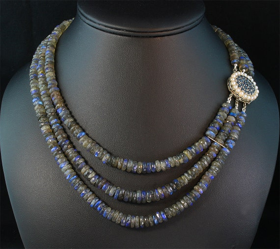 3 Strand Spectacular Labradorite Necklace with Vintage 14K White Gold, Sapphire and Pearl Clasp by Cavallo Fine Jewelry