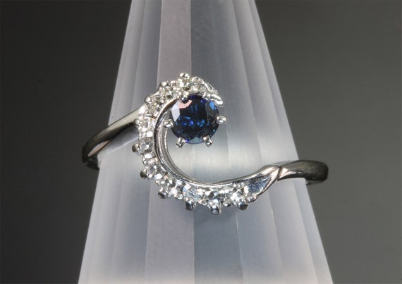 14K White Gold Vintage Blue Sapphire and Diamond Wave Ring